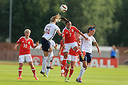 Natasha Harding of Wales (7) is challenged by Ada Hegerberg of Norway (l). Wales Women v Norway Women, Women's Euro 2017  Qualifying, group 8 match at the Newport Stadium in Newport, South Wales on Tuesday 7th June 2016. pic by  Andrew Orchard, Andrew Orchard sports photography.
