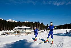 Peter Dokl and Vasja Rupnik at practice session during Media day of Slovenian biathlon team on November 12, 2010 at Rudno polje, Pokljuka, Slovenia. (Photo By Vid Ponikvar / Sportida.com)