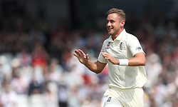England's Stuart Broad celebrates taking the wicket of Pakistan's Imam-ul-Haq, during day one of the second Investec Test Match at Headingley Carnegie, Leeds.