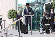Axel Tuanzebe Defender of Manchester United departs the Lowry hotel before the Manchester United vs Celta Vigo match  at Old Trafford, Manchester, United Kingdom on 11 May 2017. Photo by Phil Duncan.