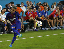 Barcelona forward Neymar attempts a shot during the second half against Real Madrid in International Champions Cup play on Saturday, July 29, 2017, at Hard Rock Stadium in Miami Gardens, FL, USA. Barcelona won, 3-2. Photo by David Santiago/El Nuevo Herald/TNS/ABACAPRESS.COM