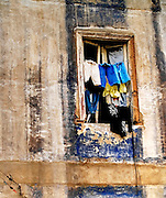 Ordinary window with laundry drying