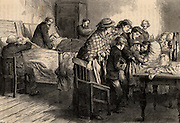 Flooding of Tynewydd Colliery, Rhondda Valley, Wales, 11 April 1877. Five survivors being cared for after their 10 days trapped underground, one of them being united with his family.  From 'Heroes of Britain' by Edwin Hodder (London, c1880). Engraving.