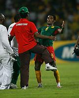 Photo: Steve Bond/Richard Lane Photography.<br />Ghana v Cameroon. Africa Cup of Nations. 07/02/2008. Samuel Eto'o (R) celebrates victory