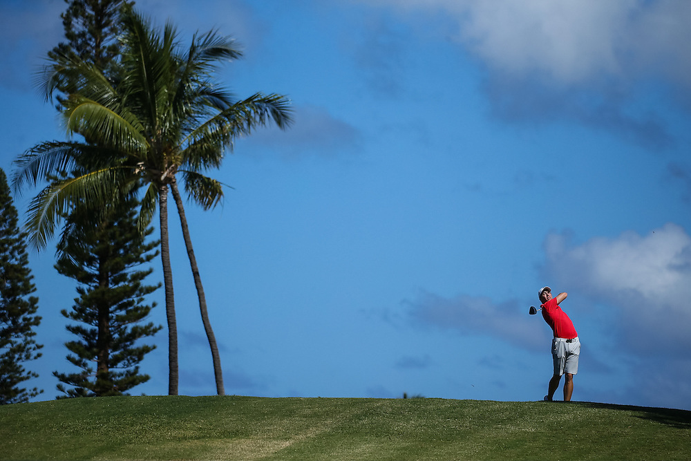 Chase Hanna of Kansas tees off on number fourteen during the second round of the 3rd annual Kaanapali Classic collegiate invitational. Kaanapali Royal Course Lahaina, Hawaii November 5th, 2016/ Photo by Aric Becker