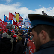 ODESSA, UKRAINE - March 16, 2014: Pro-Russia protestors gather in Kulikovo pole square to demonstrate support for the referendum in Crimea. CREDIT: Paulo Nunes dos Santos