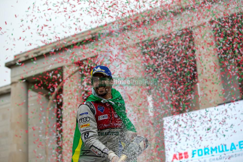 April 14, 2018 - Rome, RM, Italy - Lucas Di Grassi of Audi Sport celebrate the 2nd place of the Rome E-Prix Round 7 as part of the ABB FIA Formula E Championship on April 14, 2018 in Rome, Italy. (Credit Image: © Danilo Di Giovanni/NurPhoto via ZUMA Press)