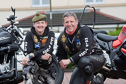 Karen Holmes and chairman Colin MacNab, of The Riders Branch, The Royal British Legion Scotland (RBL Scotland Riders or RBLS Riders). They attend all military ceremonies including funerals in Scotland..©Pic : Michael Schofield..