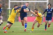 *** USA player Bryce Campbell breaks tackles on a long run in the first half during the November Test match between Romania and USA at Ghencea Stadium, Bucharest, Romania on 17 November 2018.