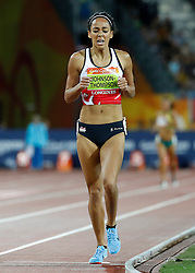 England's Katarina Johnson-Thompson crosses the line to win the Women's Heptathlon, at the Carrara Stadium during day nine of the 2018 Commonwealth Games in the Gold Coast, Australia.