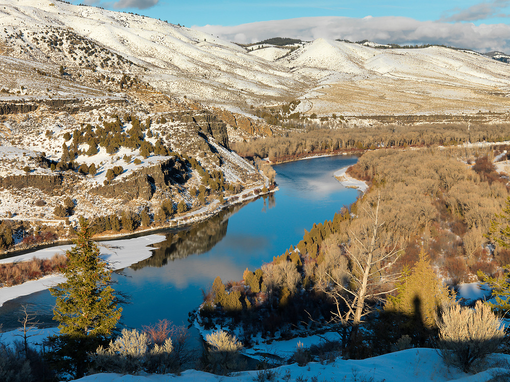 South Fork of the Snake River winter season just above the rural town of Ririe in Eastern Idaho on a gorgeous fall evening. Licensing and Open Edition Prints.