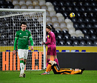 Hull City's Keane Lewis-Potter reacts after his shot ended up in the stands<br /> <br /> Photographer Chris Vaughan/CameraSport<br /> <br /> The EFL Sky Bet League One - Hull City v Lincoln City - Tuesday 9th February 2021 - KCOM Stadium - Kingston upon Hull<br /> <br /> World Copyright © 2021 CameraSport. All rights reserved. 43 Linden Ave. Countesthorpe. Leicester. England. LE8 5PG - Tel: +44 (0) 116 277 4147 - admin@camerasport.com - www.camerasport.com