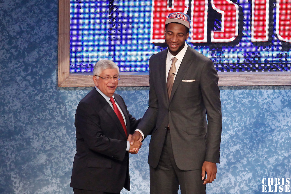 28 June 2012: Andre Drummond, picked up by the Detroit Pistons, poses with David Stern during the 2012 NBA Draft, at the Prudential Center, Newark, New Jersey.