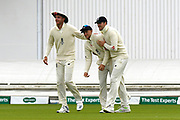 Wicket - Joe Root of England celebrates catching Matthew Wade of Australia off the bowling of Jack Leach of England with Stuart Broad of England and Craig Overton of England during the International Test Match 2019, fourth test, day two match between England and Australia at Old Trafford, Manchester, England on 5 September 2019.