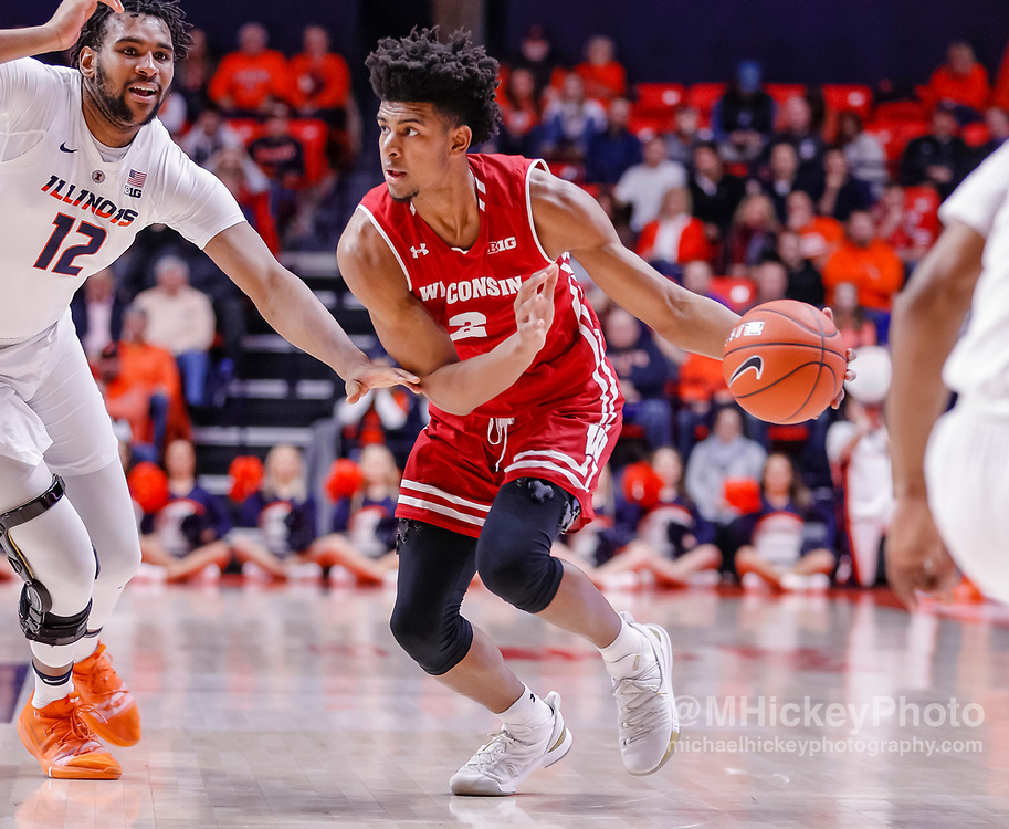 CHAMPAIGN, IL - JANUARY 23: Aleem Ford #2 of the Wisconsin Badgers drives to the basket during the game against the Illinois Fighting Illini at State Farm Center on January 23, 2019 in Champaign, Illinois. (Photo by Michael Hickey/Getty Images) *** Local Caption *** Aleem Ford