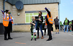 Forest Green Rovers fans are guided by staff as they make their way to the turnstiles - Mandatory by-line: Nizaam Jones/JMP - 19/09/2020 - FOOTBALL - New Lawn Stadium - Nailsworth, England - Forest Green Rovers v Bradford City - Sky Bet League Two