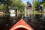 Chris Ochsenbein kayaking in Hurricane Florence's floodwaters in Socastee, South Carolina.
