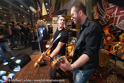 One of the many bands performing around the multiple buildings of the show during Motor Bike Expo. Verona, Italy. January 23, 2016.  Photography ©2016 Michael Lichter.