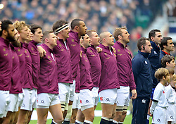 England players line up to sing the national anthem - Photo mandatory by-line: Patrick Khachfe/JMP - Tel: Mobile: 07966 386802 16/11/2013 - SPORT - RUGBY UNION -  Twickenham Stadium, London - England v New Zealand - QBE Autumn Internationals.
