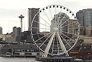 The Seattle Great Wheel located at the end of Pier 57. <br />