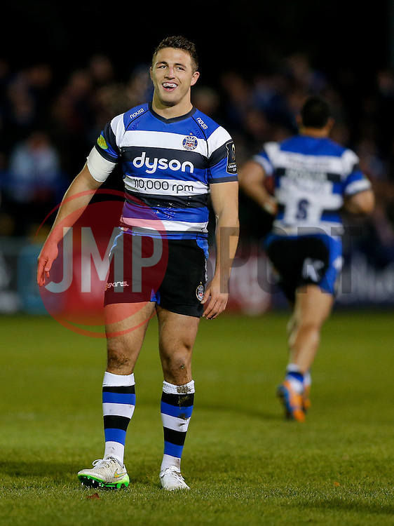 Bath Inside Centre Sam Burgess, making his first start for the Club, looks on - Photo mandatory by-line: Rogan Thomson/JMP - 07966 386802 - 12/12/2014 - SPORT - RUGBY UNION - Bath, England - The Recreation Ground - Bath Rugby v Montpellier Herault Rugby - European Rugby Champions Cup Pool 4.