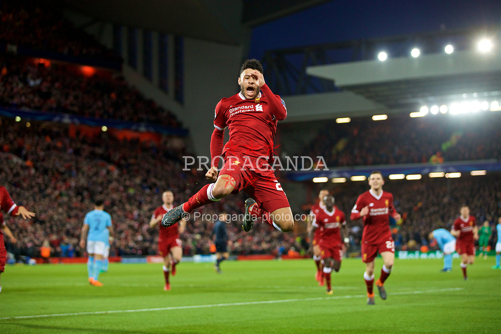 LIVERPOOL, ENGLAND - Wednesday, April 4, 2018: Liverpool's Alex Oxlade-Chamberlain jumps in the air as he celebrates scoring the second goal during the UEFA Champions League Quarter-Final 1st Leg match between Liverpool FC and Manchester City FC at Anfield. (Pic by David Rawcliffe/Propaganda)