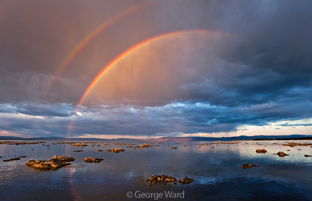 Double Rainbow and Passing Storm, Mono Basin National Forest Scenic Area, California