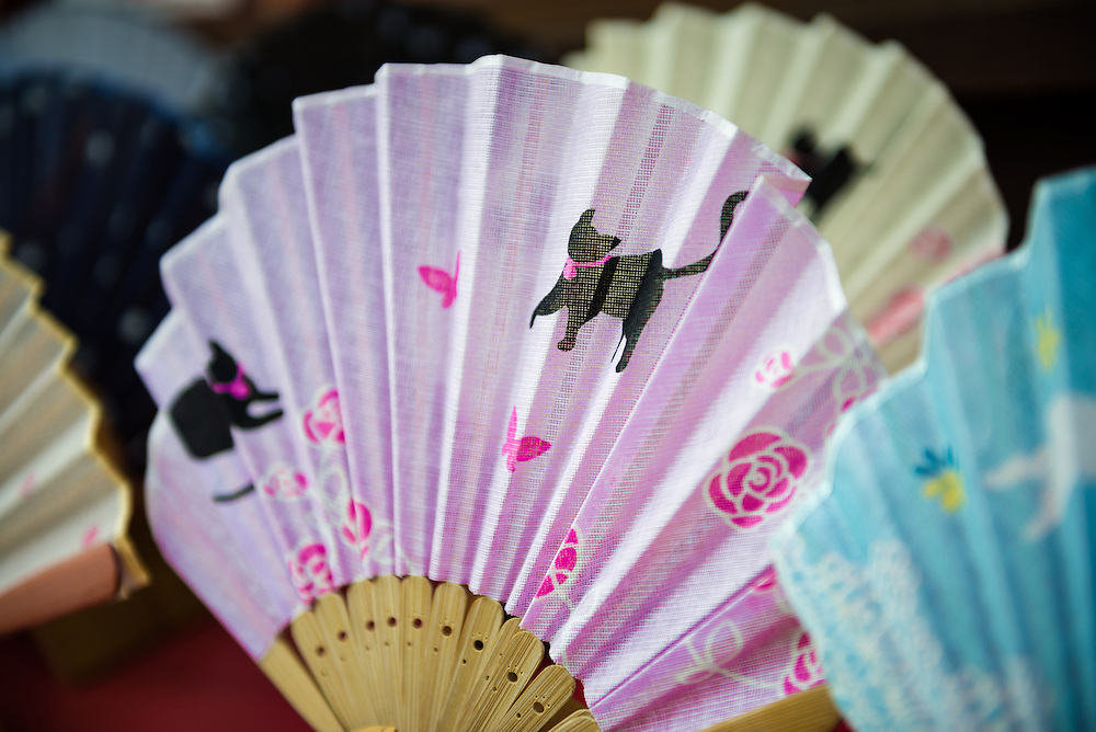 Hand painted Japanese fans for sale in the traditional Higashiyama district of Kyoto.