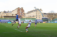 Rugby Union - 2020 / 2021 Gallagher Premiership - Round 12 - Bath vs Exeter Chiefs - Recreation Ground<br /> <br /> Bath Rugby's Ruaridh McConnochie beats Exeter Chiefs' Jack Maunder to the ball to score his sides first try.<br /> <br /> COLORSPORT/ASHLEY WESTERN