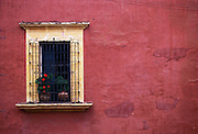 Colonial neighborhood barred window with flowers and a red wall in Oaxaca, Mexico.