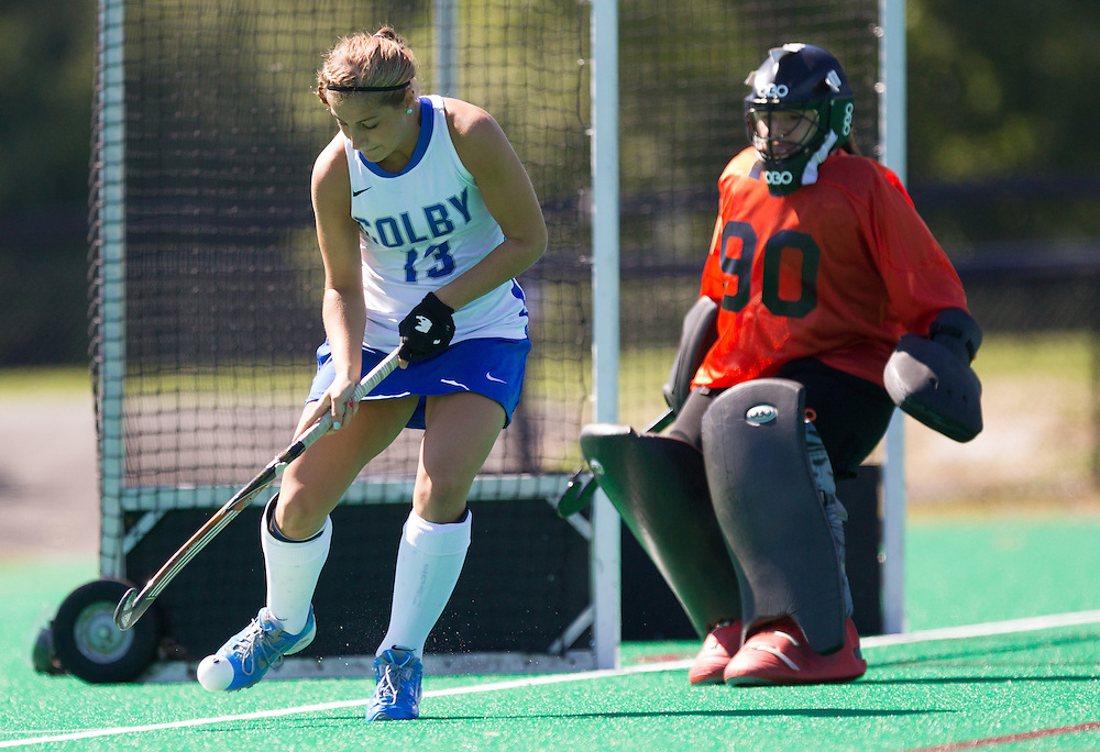 Misha Strage, of Colby College, in a NCAA Division III field hockey game on September 14, 2014 in Waterville, ME. (Dustin Satloff/Colby College Athletics)