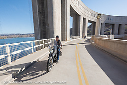 Rowdy Schenck of New Mexico riding his 1915 Harley-Davidson as he crosses the Parker Dam over the Colorado River during the Motorcycle Cannonball Race of the Century. Stage-14 ride from Lake Havasu CIty, AZ to Palm Desert, CA. USA. Saturday September 24, 2016. Photography ©2016 Michael Lichter.