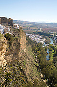 View of River Guadalete floodplain and landscape from Arcos de la Frontera, Cadiz Province, Spain
