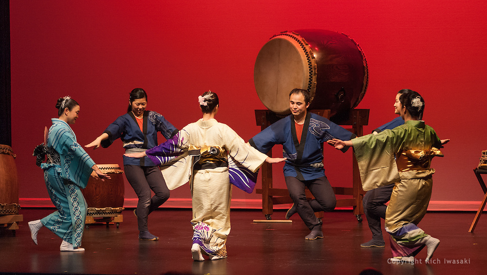 "Members of Portland Taiko and Fujinami Kai dancers perform at the Portland Taiko concert ""Three: 3 conversations with Taiko"", Winningstad Theatre, Portland Center for the Performing Arts, Portland, Oregon."