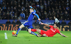 Jamie Vardy (L) of Leicester City scores his sides second goal - Mandatory byline: Jack Phillips/JMP - 02/02/2016 - FOOTBALL - King Power Stadium - Leicester, England - Leicester City v Liverpool - Barclays Premier League