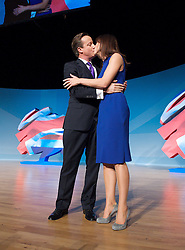 Conservative Party Conference, ICC, Birmingham, Great Britain <br /> 10th October 2012 <br />  Day 4<br /> <br /> Rt Hon David Cameron MP <br /> Prime minister <br /> with his wife Samantha Cameron after his leaders' speech <br /> <br /> <br /> <br /> Photograph by Elliott Franks<br /> <br /> United Kingdom<br /> Tel 07802 537 220 <br /> elliott@elliottfranks.com<br /> <br /> ©2012 Elliott Franks<br /> Agency space rates apply
