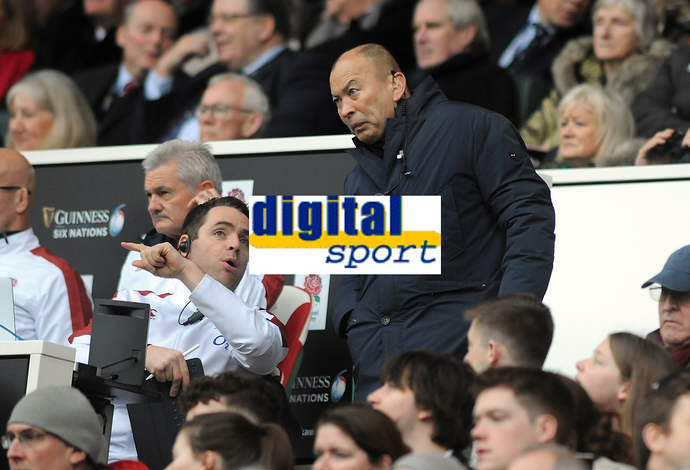 Football - 2020 Guinness Six Nations Championship - England vs. Ireland<br /> <br /> England's head coach Eddie Jones out of his seat in the stands to Twickenham.<br /> <br /> COLORSPORT/ANDREW COWIE