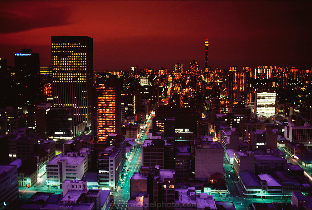 Downtown Johannesburg, South Africa at dusk. Architecture. Published in Material World page 25. Material World Project.
