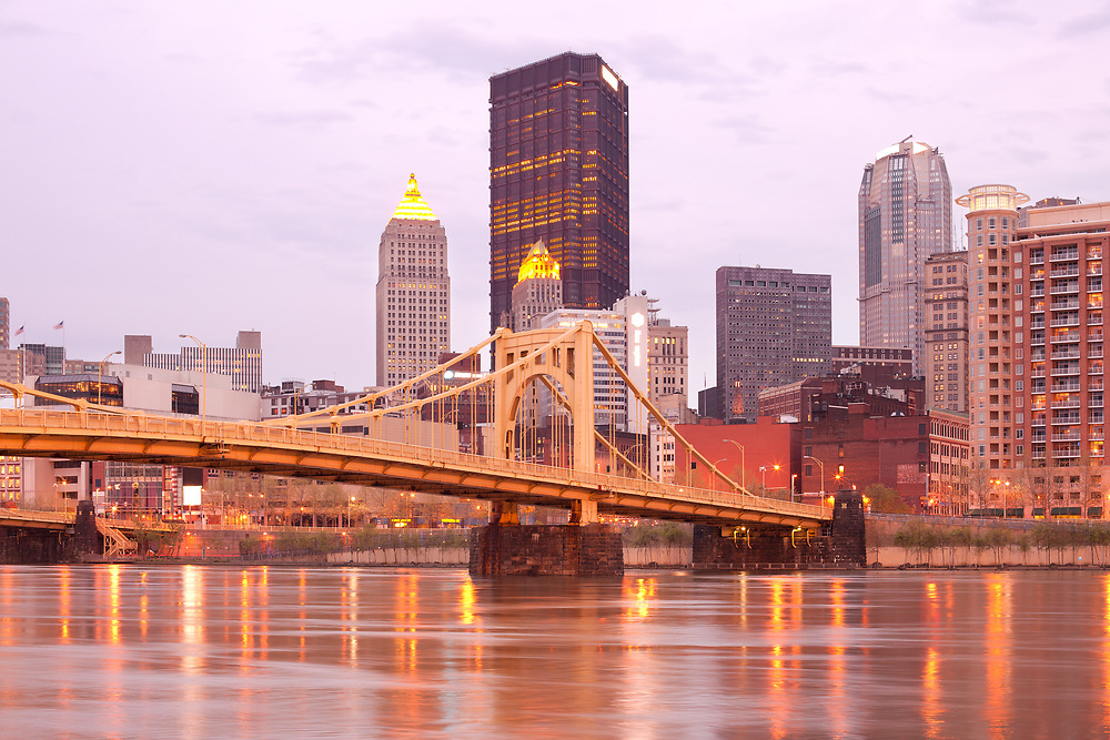 Downtown skyline and Andy Warhol Bridge over Allegheny River, Pittsburgh, Pennsylvania, United States