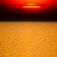 A large sun sets on Raritan Bay (aka New York Harbor or Sandy Hook Bay) looking west from Sandy Hook National Park New Jersey