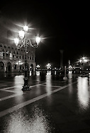 """Piazzetta San Marco by night, with the Doge's Palace  in the background. Taken on a late evening at the end of January, when the  high tide had already completely flooded the square, producing that phenomenon known as """"acqua alta""""."""