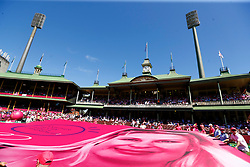 A banner of Jane Mcgrath is unveiled in support of Mcgrath day during day three of the Ashes Test match at Sydney Cricket Ground.