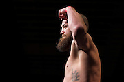 Travis Browne weighs in during the official UFC 187 weigh-in event at the MGM Grand in Las Vegas, Nevada on May 22, 2015. (Cooper Neill)