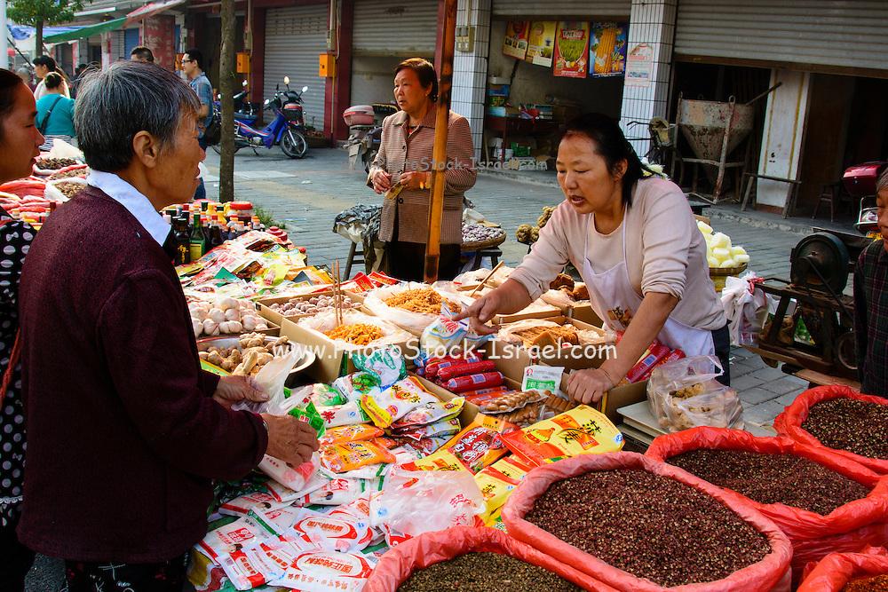 China, Xian, outdoor food street market