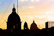 The St. Peter's Basillica in the Vatican City Rome 2013. The Basillica in the Vatican city against a sunrise background.
