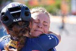 Emilie Moberg embraces her teammates after completing her last race with Hitec Products at Madrid Challenge by la Vuelta 2017 - a 87 km road race on September 10, 2017, in Madrid, Spain. (Photo by Sean Robinson/Velofocus.com)
