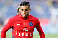 Paris Saint Germain's Brazilian defender Marquinhos warms up before the French Championship Ligue 1 football match between Paris Saint-Germain and Girondins de Bordeaux on September 30, 2017 at the Parc des Princes stadium in Paris, France - Photo Benjamin Cremel / ProSportsImages / DPPI