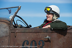 Lisa English in her 1929 Ford Roadster at the Race of Gentlemen. Wildwood, NJ, USA. October 10, 2015.  Photography ©2015 Michael Lichter.