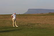 Caolan Rafferty (Dundalk) on the 18th fairway with Ben Bulbin in the background during Round 3 of The West of Ireland Open Championship in Co. Sligo Golf Club, Rosses Point, Sligo on Saturday 6th April 2019.<br /> Picture:  Thos Caffrey / www.golffile.ie