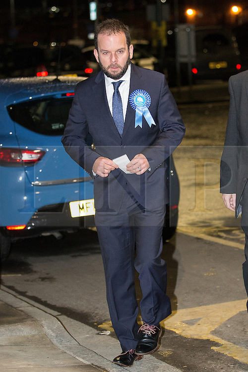 © Licensed to London News Pictures . 04/12/2015 . Oldham , UK . Conservative party candidate JAMES DALY arrives at the Oldham West and Royton by-election , at the Queen Elizabeth Hall in Oldham . The by-election was called following the death of MP Michael Meacher . Photo credit : Joel Goodman/LNP